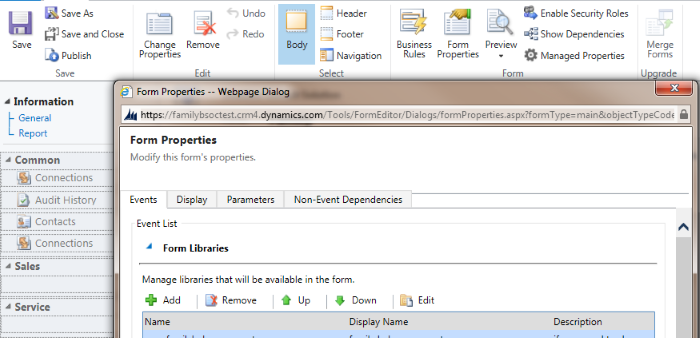 Embed an iFrame into a Dynamics CRM 2013 form